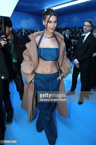 Model Bella Hadid attends the Louis Vuitton Menswear Fall/Winter 2020-2021 show as part of Paris Fashion Week on January 16, 2020 in Paris, France.