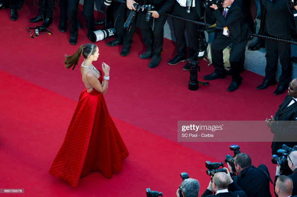 Model Bella Hadid attends the 'Okja' premiere during the 70th annual Cannes Film Festival at Palais des Festivals on May 19, 2017 in Cannes, France.