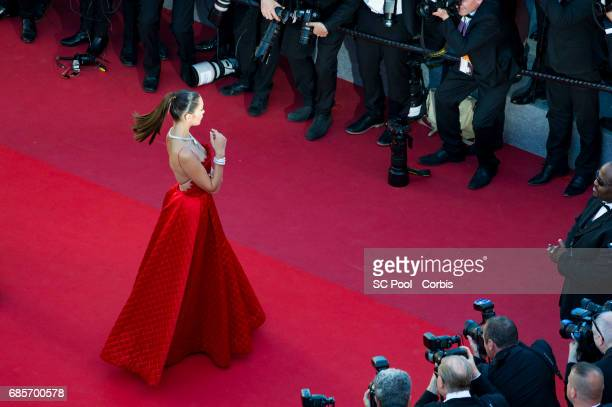 Model Bella Hadid attends the 'Okja' premiere during the 70th annual Cannes Film Festival at Palais des Festivals on May 19 2017 in Cannes France