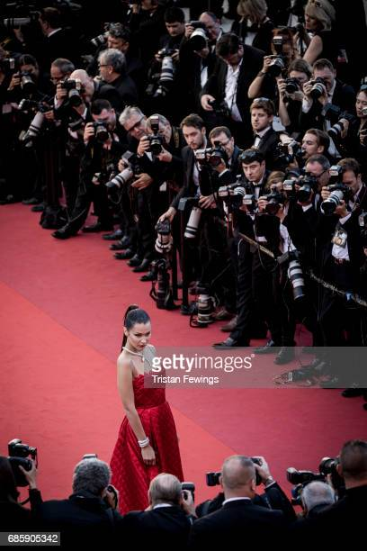 Model Bella Hadid attends the 'Okja' screening during the 70th annual Cannes Film Festival at on May 19 2017 in Cannes France