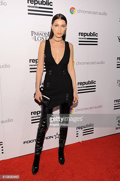 Model Bella Hadid attends the Republic Records Grammy Celebration presented by Chromecast Audio at Hyde Sunset Kitchen Cocktail on February 15 2016...