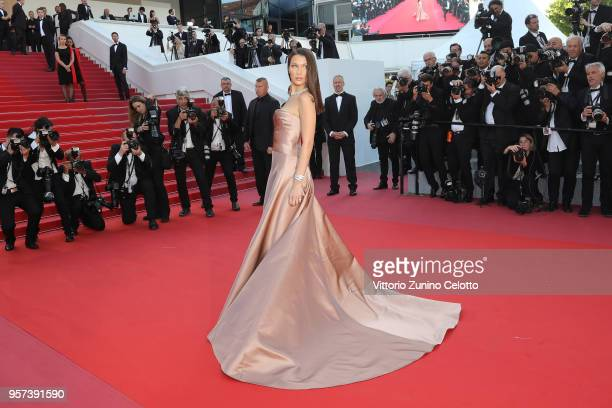 Model Bella Hadid attends the screening of Ash Is The Purest White during the 71st annual Cannes Film Festival at Palais des Festivals on May 11 2018...