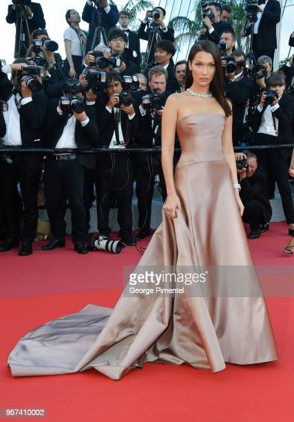 Model Bella Hadid attends the screening of 'Ash Is The Purest White ' during the 71st annual Cannes Film Festival at Palais des Festivals on May 11...