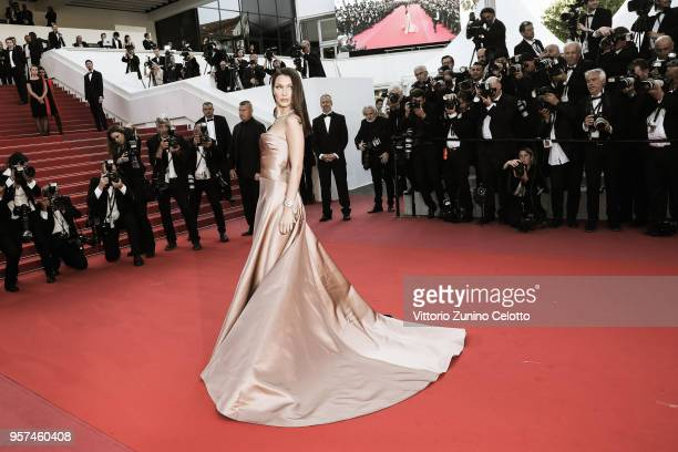 """Model Bella Hadid attends the screening of """"Ash Is The Purest White """" during the 71st annual Cannes Film Festival at Palais des Festivals on May 11,..."""