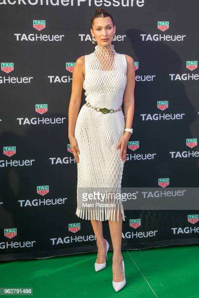 Model Bella Hadid attends the TAG Heuer event during the Formula 1 Grand Prix de Monaco on May 26 2018 in Monaco Monaco