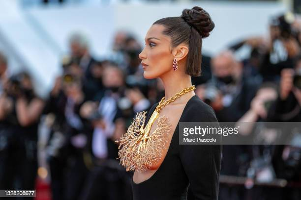"""Model Bella Hadid attends the """"Tre Piani """" screening during the 74th annual Cannes Film Festival on July 11, 2021 in Cannes, France."""