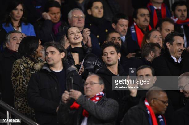 Model Bella Hadid attends the UEFA Champions League Round of 16 Second Leg match between Paris SaintGermain and Real Madrid at Parc des Princes on...