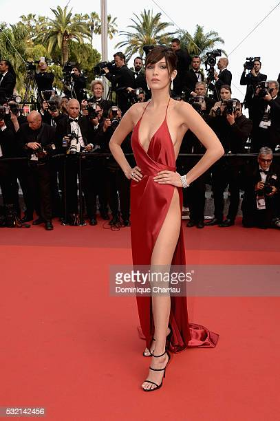 Model Bella Hadid attends The Unknown Girl Premiere duirng the annual 69th Cannes Film Festival at Palais des Festivals on May 18 2016 in Cannes...