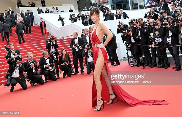 """Model Bella Hadid attends """"The Unknown Girl """" Premiere duirng the annual 69th Cannes Film Festival at Palais des Festivals on May 18, 2016 in Cannes,..."""