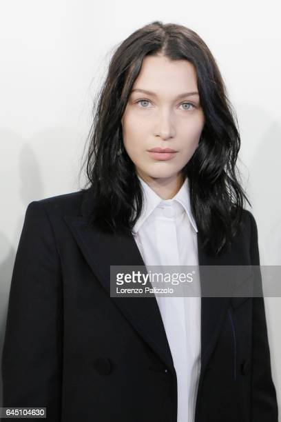 Model Bella Hadid beauty backstage detail is seen backstage ahead of the Fendi show during Milan Fashion Week Fall/Winter 2017/18 on February 23 2017...