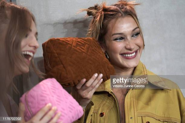 Model Bella Hadid beauty backstage detail prepares backstage for Fendi fashion show during the Milan Fashion Week Spring/Summer 2020 on September 19...
