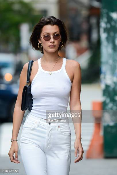 Model Bella Hadid enters a Noho apartment on July 17, 2017 in New York City.