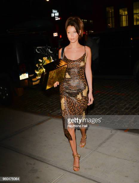 Model Bella Hadid is seen arriving at gigi hadid home on April 23 2018 in New York City
