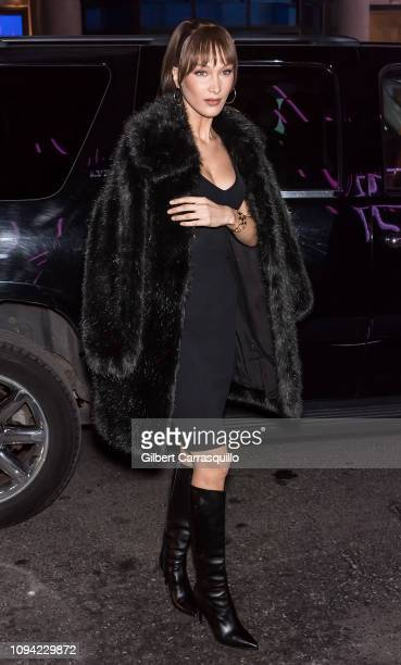 Model Bella Hadid is seen arriving to the Jump Into Spring MICHAEL Michael Kors Spring 2019 Launch Party at Dolby Soho on February 5 2019 in New York...