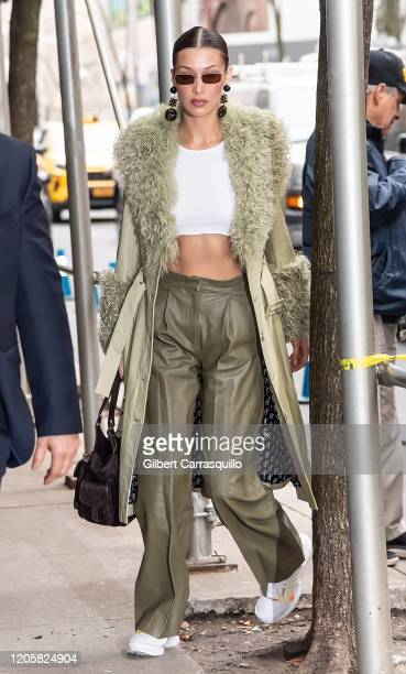 Model Bella Hadid is seen arriving to the Marc Jacobs Fashion Show during New York Fashion Week on February 12, 2020 in New York City.