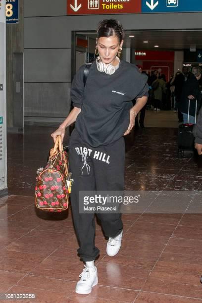 Model Bella Hadid is seen at CharlesdeGaulle airport on December 12 2018 in Paris France
