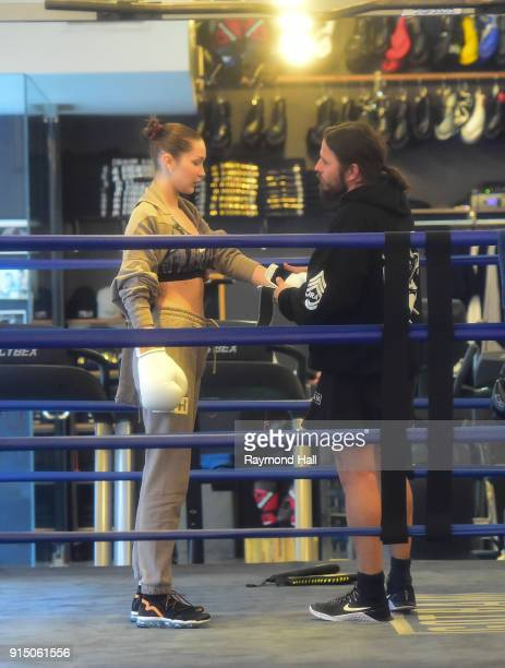 Model Bella Hadid is seen at 'Gotham Boxing GYM' on February 6 2018 in New York City