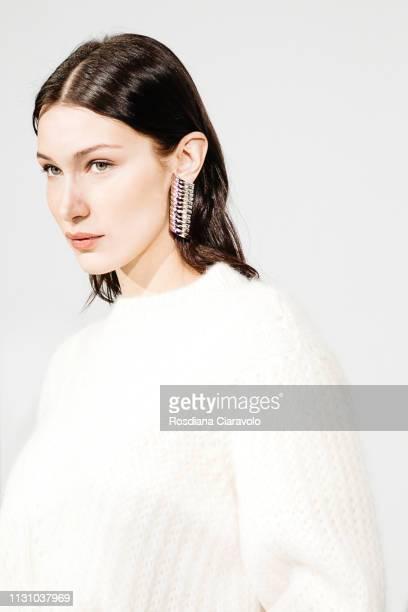 Model Bella Hadid is seen backstage ahead of the Alberta Ferretti show at Milan Fashion Week Autumn/Winter 2019/20 on February 20, 2019 in Milan,...