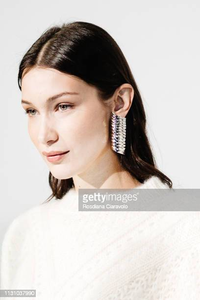 Model Bella Hadid is seen backstage ahead of the Alberta Ferretti show at Milan Fashion Week Autumn/Winter 2019/20 on February 20 2019 in Milan Italy