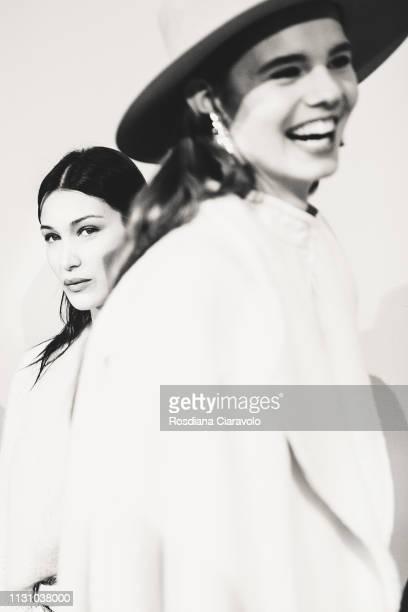 Model Bella Hadid is seen backstage ahead of the Alberta Ferretti show at Milan Fashion Week Autumn/Winter 2019/20 on February 20 2019 in Milan Italy