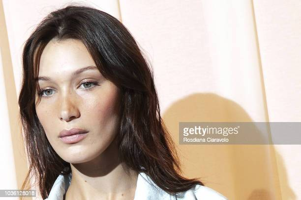 Model Bella Hadid is seen backstage ahead of the Alberta Ferretti show during Milan Fashion Week Spring/Summer 2019 on September 19 2018 in Milan...