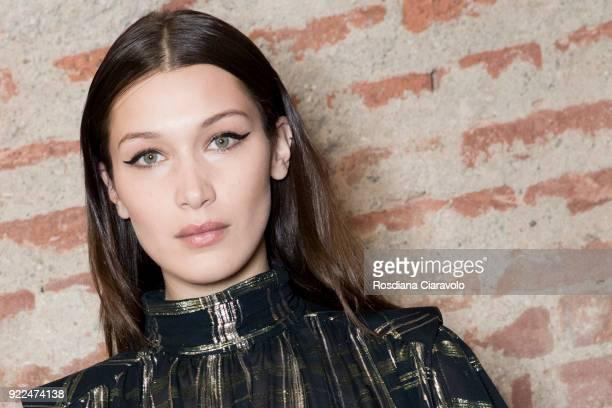 Model Bella Hadid is seen backstage ahead of the Alberta Ferretti show during Milan Fashion Week Fall/Winter 2018/19 on February 21 2018 in Milan...