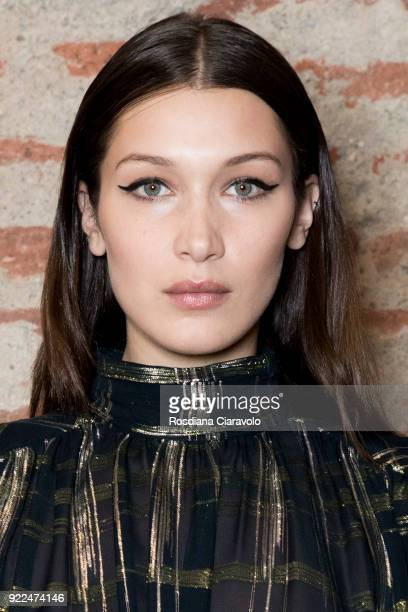 Model Bella Hadid is seen backstage ahead of the Alberta Ferretti show during Milan Fashion Week Fall/Winter 2018/19 on February 21 2018 in Milan...