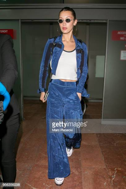 Model Bella Hadid is seen during the 71st annual Cannes Film Festival at Nice Airport on May 9 2018 in Nice France