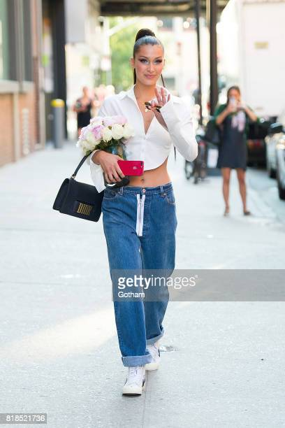 Model Bella Hadid is seen in the Meat Packing District on July 18 2017 in New York City