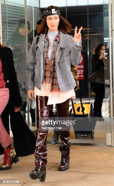 Model Bella Hadid is seen leaving Michael Kors Show on February 14 2018 in New York City