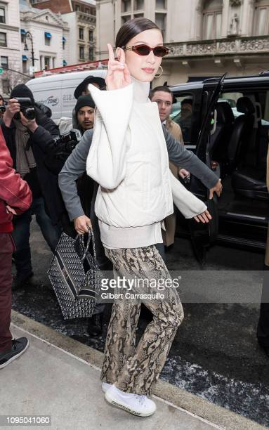 Model Bella Hadid is seen leaving Ralph Lauren Spring/Summer 2019 fashion show during New York Fashion Week at Ralph's Coffee at Ralph Lauren...