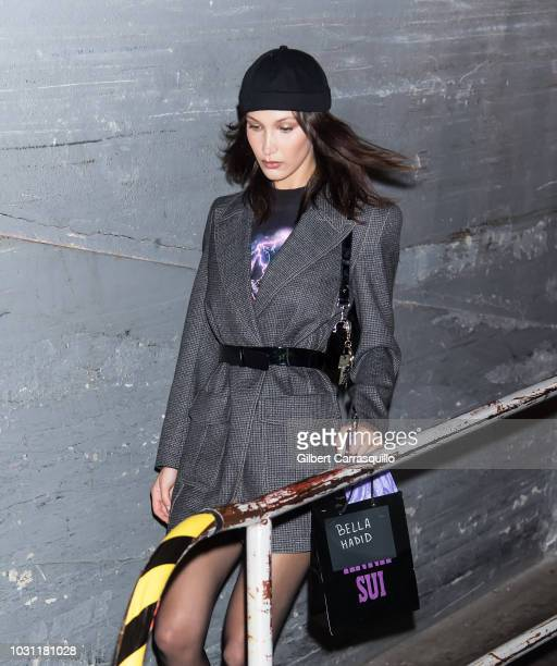 Model Bella Hadid is seen leaving the Anna Sui SS19 fashion show during New York Fashion Week at Gallery I at Spring Studios on September 10 2018 in...