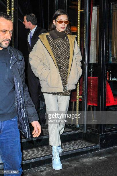 Model Bella Hadid is seen leaving the 'Cesar' restaurant on March 4 2018 in Paris France