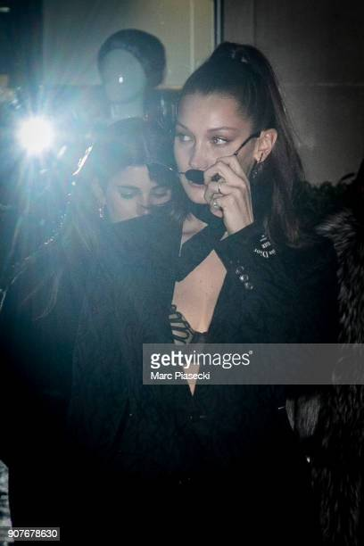Model Bella Hadid is seen leaving the 'Chrome Hearts' store on Avenue Montaigne on January 20 2018 in Paris France
