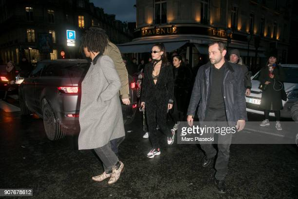 Model Bella Hadid is seen leaving the 'L'Avenue' restaurant on January 20 2018 in Paris France