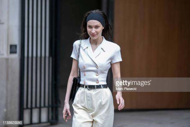 Model Bella Hadid is seen leaving the Louis Vuitton office building on March 04, 2019 in Paris, France.
