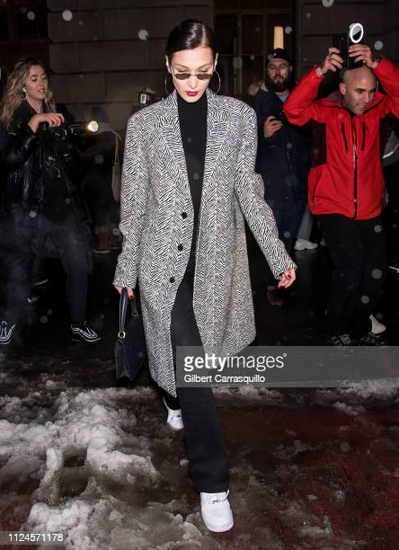 Model Bella Hadid is seen leaving the Oscar De La Renta fashion show at the Cunard Building during New York Fashion Week on February 12, 2019 in New...
