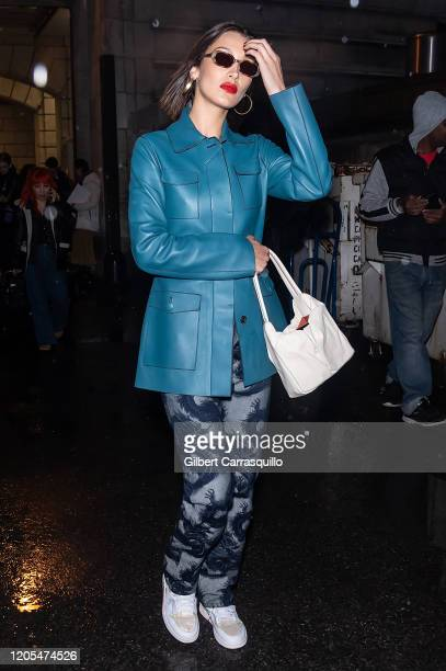 Model Bella Hadid is seen leaving the Oscar De La Renta Fashion Show during New York Fashion Week at The New York Public Library on February 10 2020...