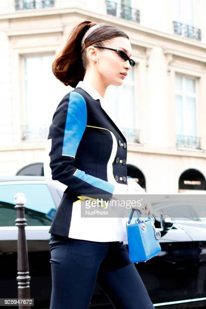 Model Bella Hadid is seen leaving the Royal Monceau hotel in Paris France on March 1 2018