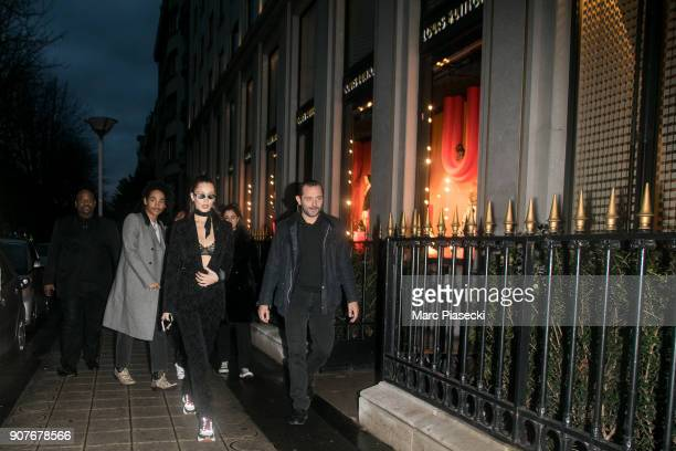 Model Bella Hadid is seen on Avenue Montaigne on January 20 2018 in Paris France