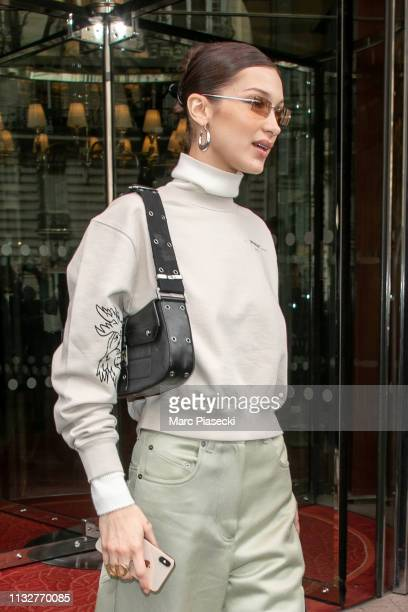 Model Bella Hadid is seen on February 28, 2019 in Paris, France.