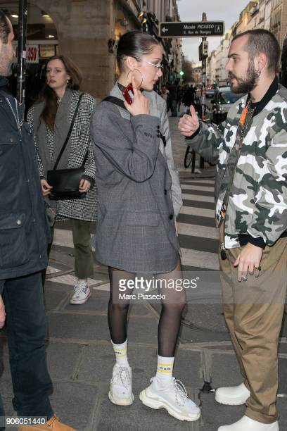 Model Bella Hadid is seen on January 17 2018 in Paris France