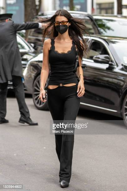 Model Bella Hadid is seen on June 28, 2021 in Paris, France.