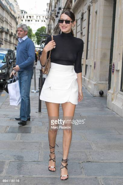 Model Bella Hadid is seen on June 9 2017 in Paris France