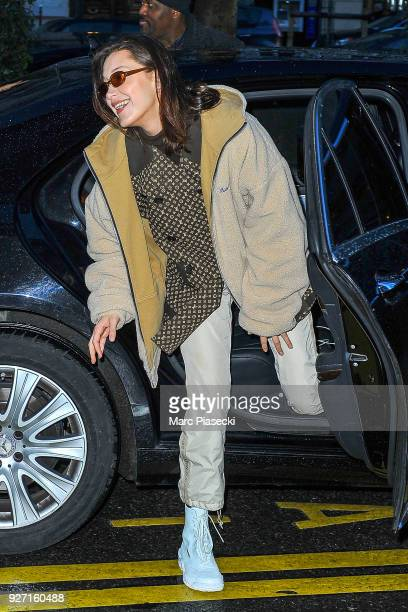 Model Bella Hadid is seen on March 4 2018 in Paris France