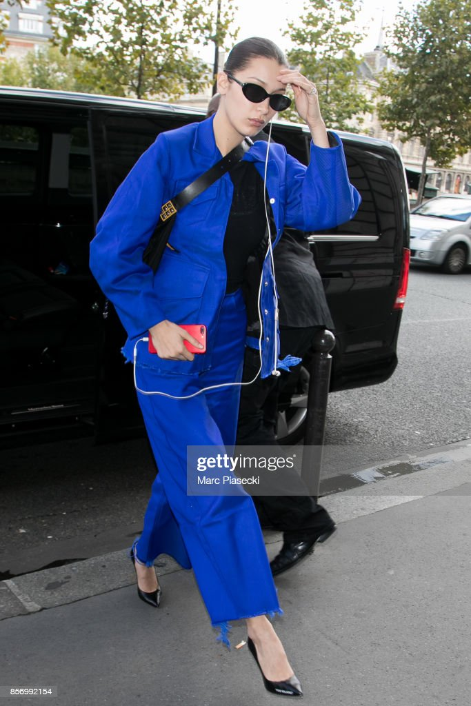 Model Bella Hadid is seen on October 3, 2017 in Paris, France.