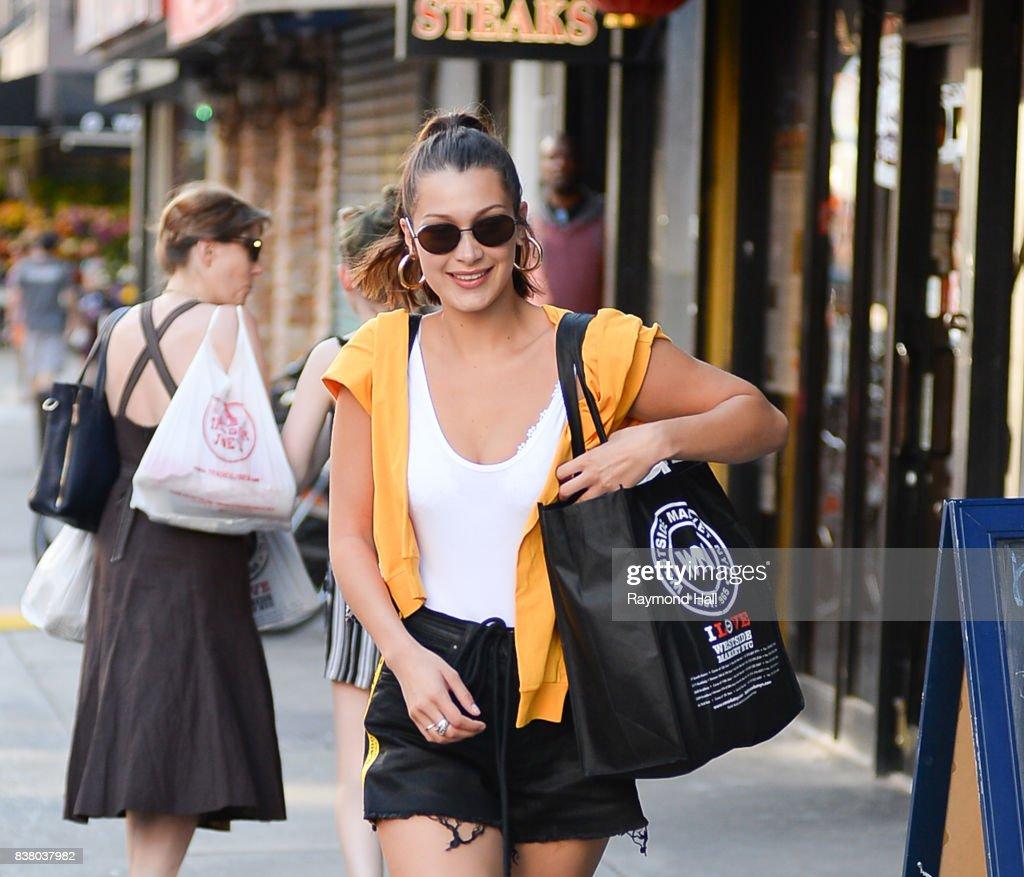 Model Bella Hadid is seen walking in Soho on August 23, 2017 in New York City.