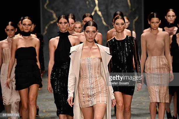 Model Bella Hadid leads models as they walk the runway during the Misha Collection show at MercedesBenz Fashion Week Resort 17 Collections at...