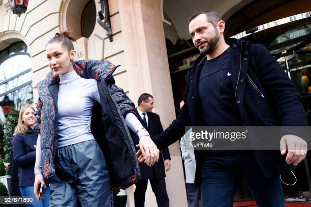 US model Bella Hadid leaves her hotel in Paris France on March 5 2018