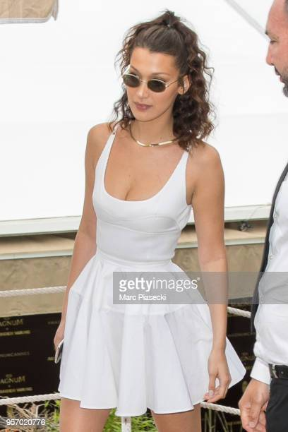 Model Bella hadid leaves the L'Ondine Beach during the 71st annual Cannes Film Festival at on May 10 2018 in Cannes France